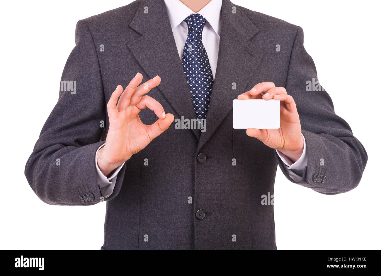 Business man showing blank card. - Stock Image