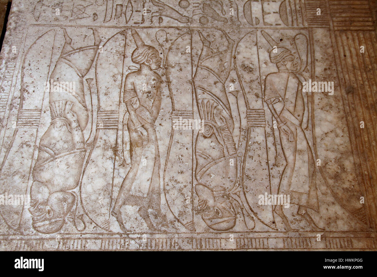 Enemies of ancient Egypt depicted standing on tiptoes on the floor of the Great  Hypostyle Hall at Karnak Temple - Stock Image