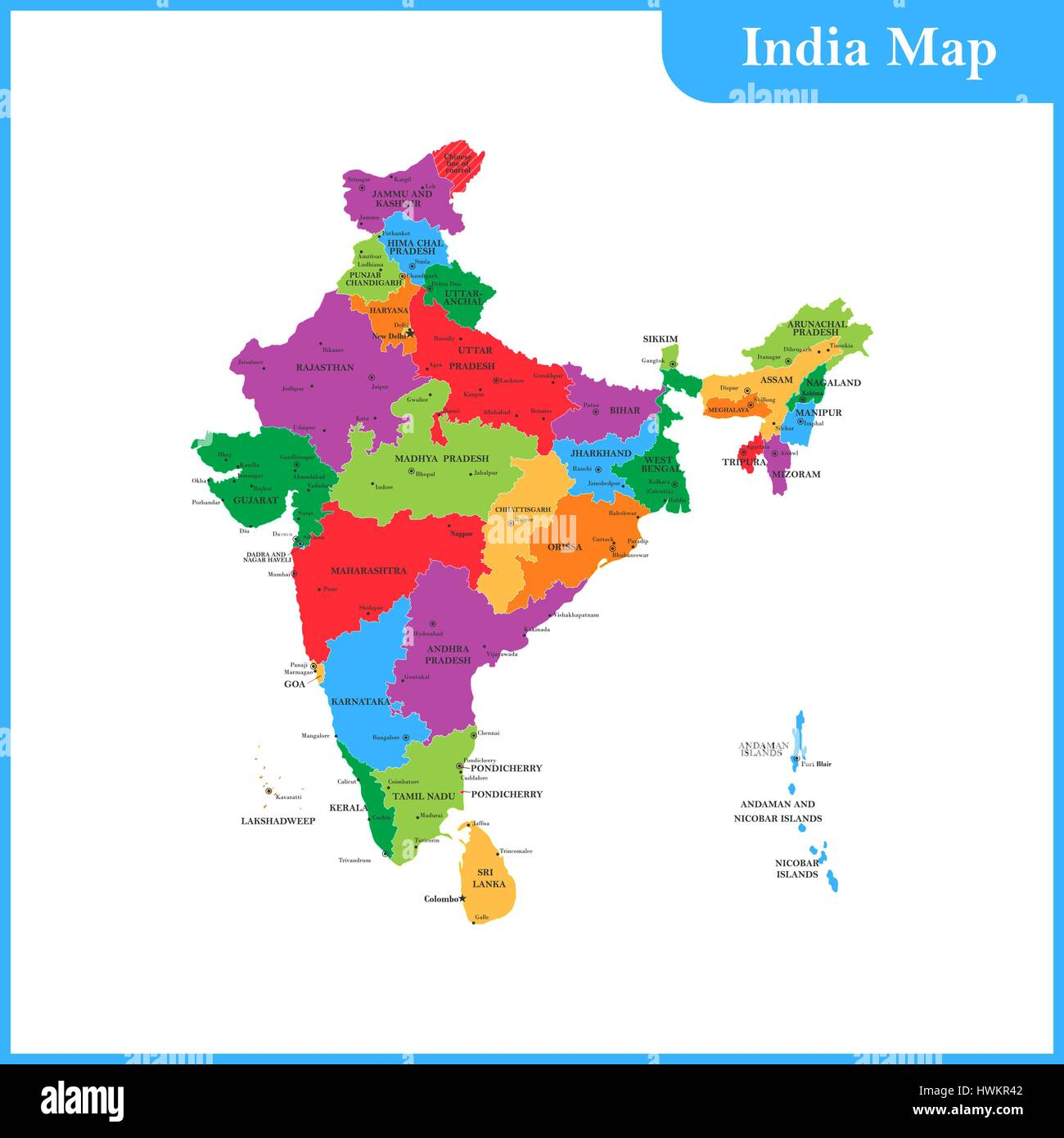 India Map With States Stock Photos India Map With States Stock