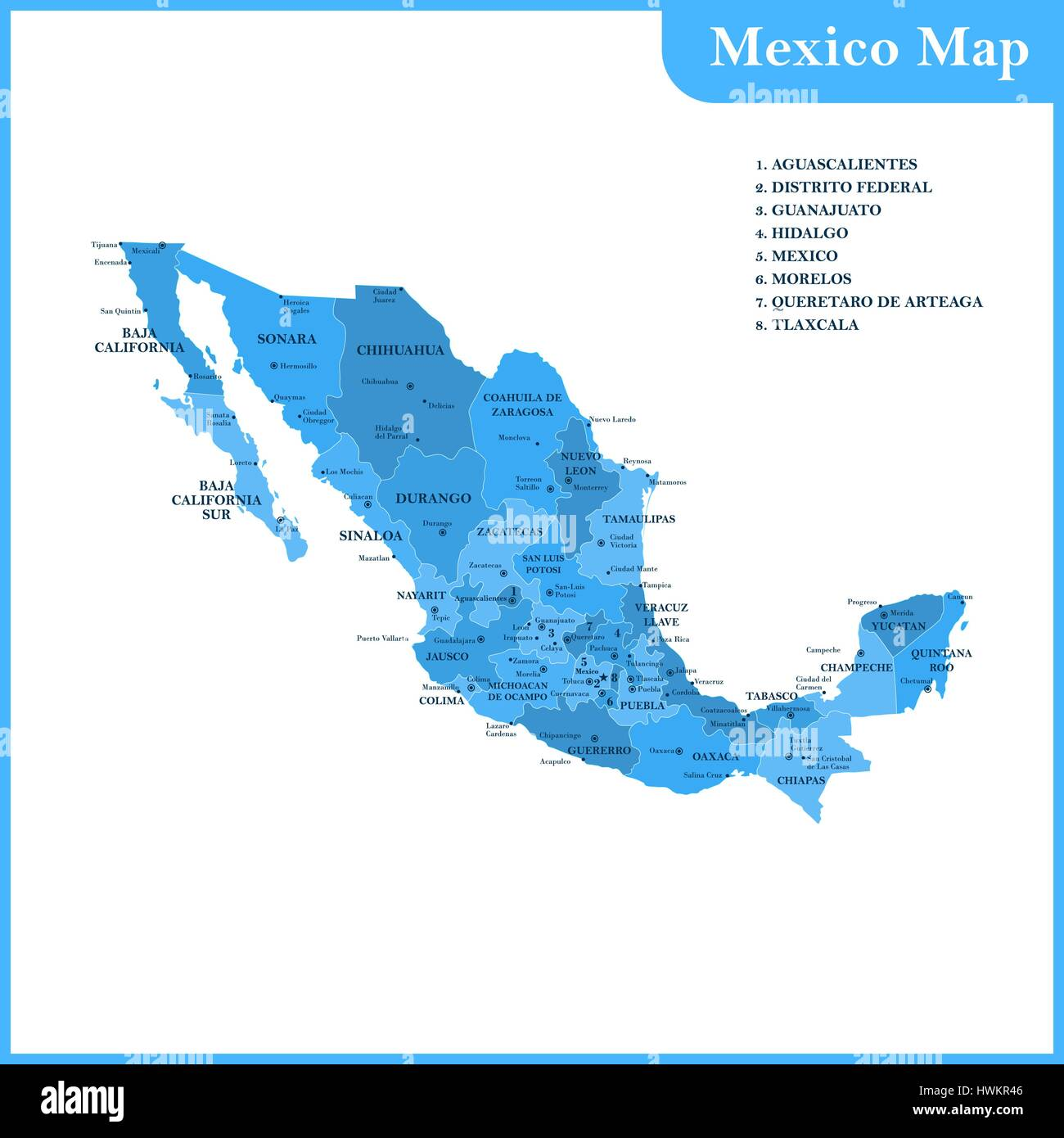 The Detailed Map Of The Mexico With Regions Or States And Cities