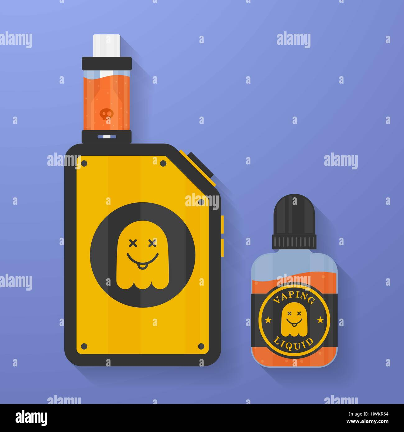 Icon of Vape device with ghost silhouette. Electronic cigarette with e-liquid bottle. Vector Vaping symbol. Box - Stock Image