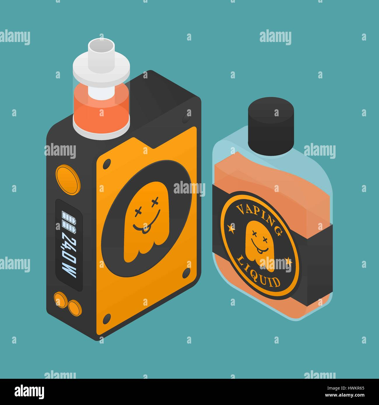 Isometric Icon of Vape device with ghost silhouette. Electronic cigarette with e-liquid bottle. Vector Vaping symbol. - Stock Image