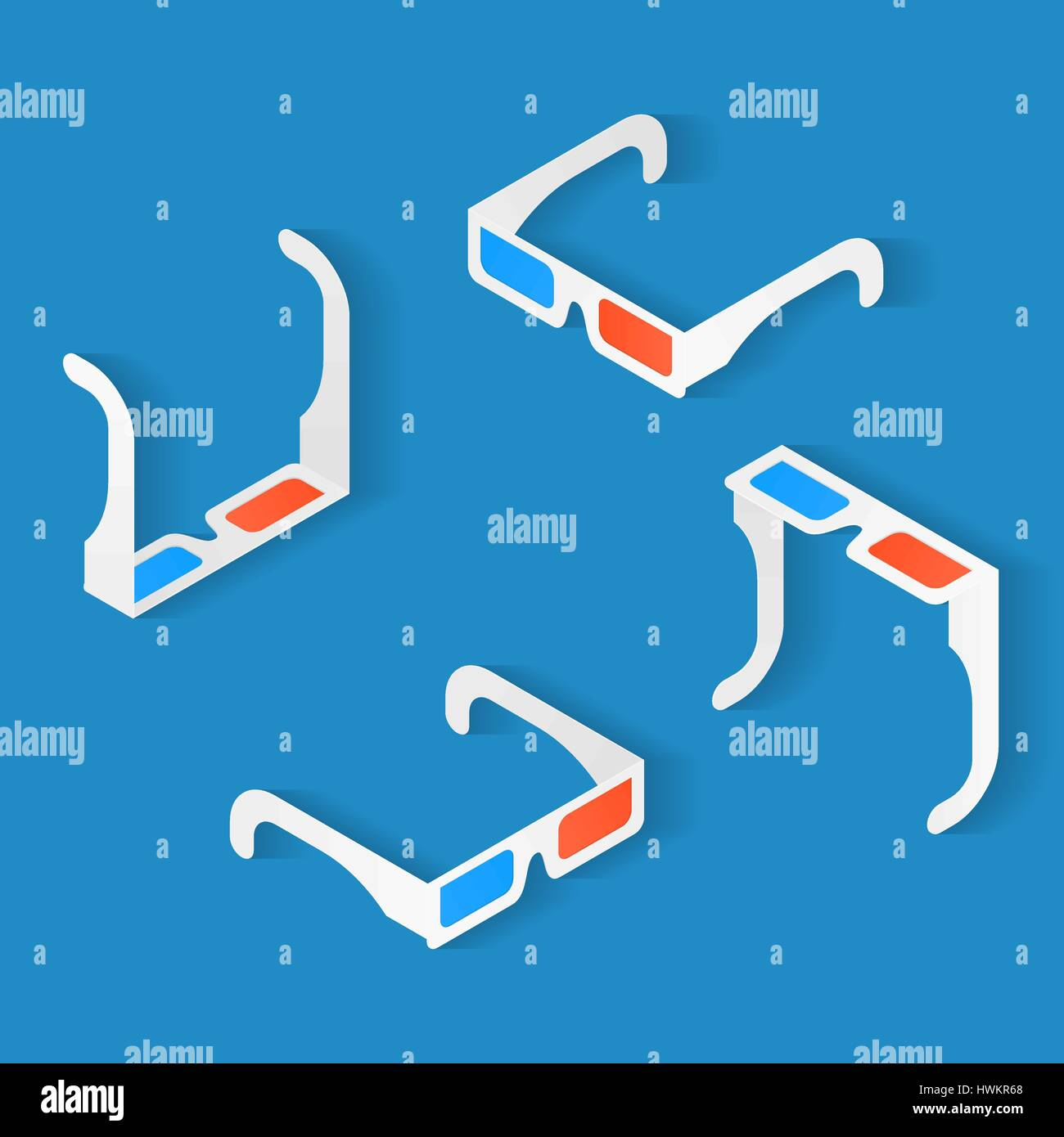 Isometric icon set of Anaglyph 3d glasses for watching movie. Top, bottom, left and right view - Stock Image
