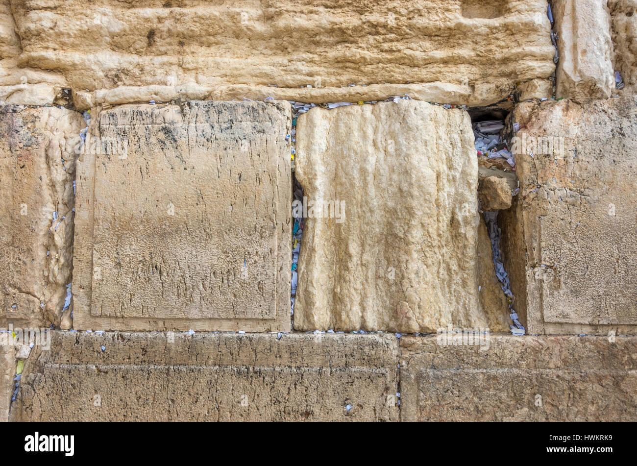 Wailing Wall Prayer Notes - Stock Image