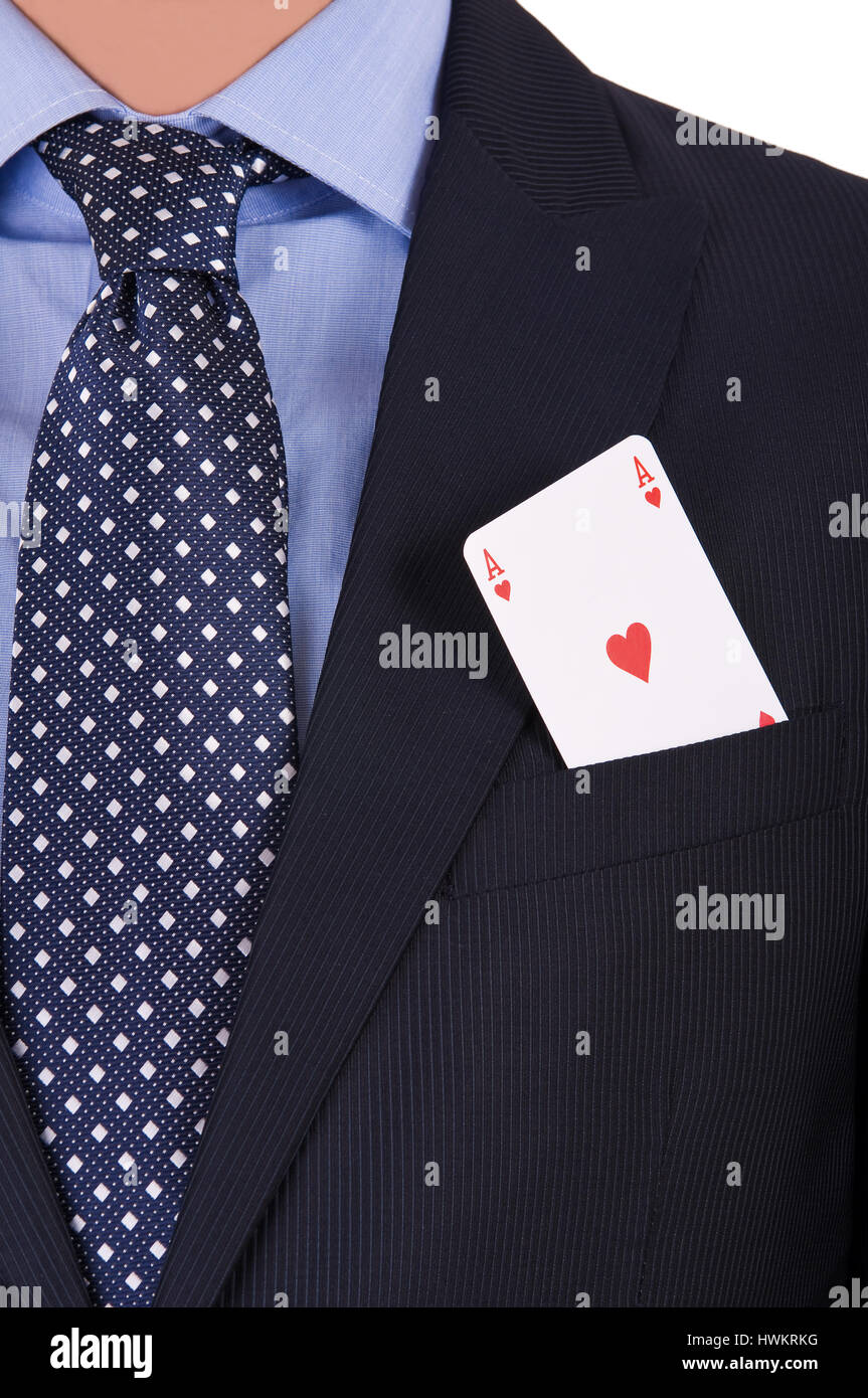 Businessman with playing card in his pocket. - Stock Image