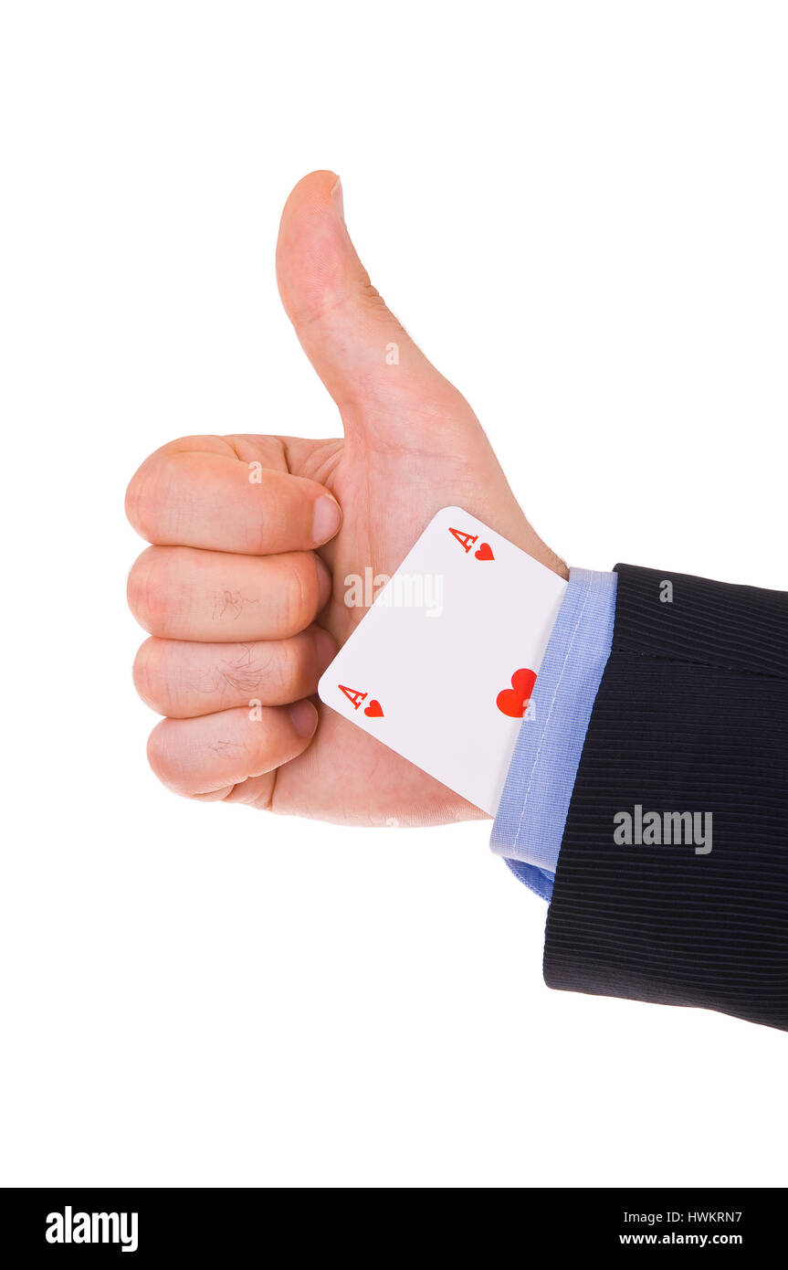 Business man showing ok sign with ace card under sleeve. - Stock Image