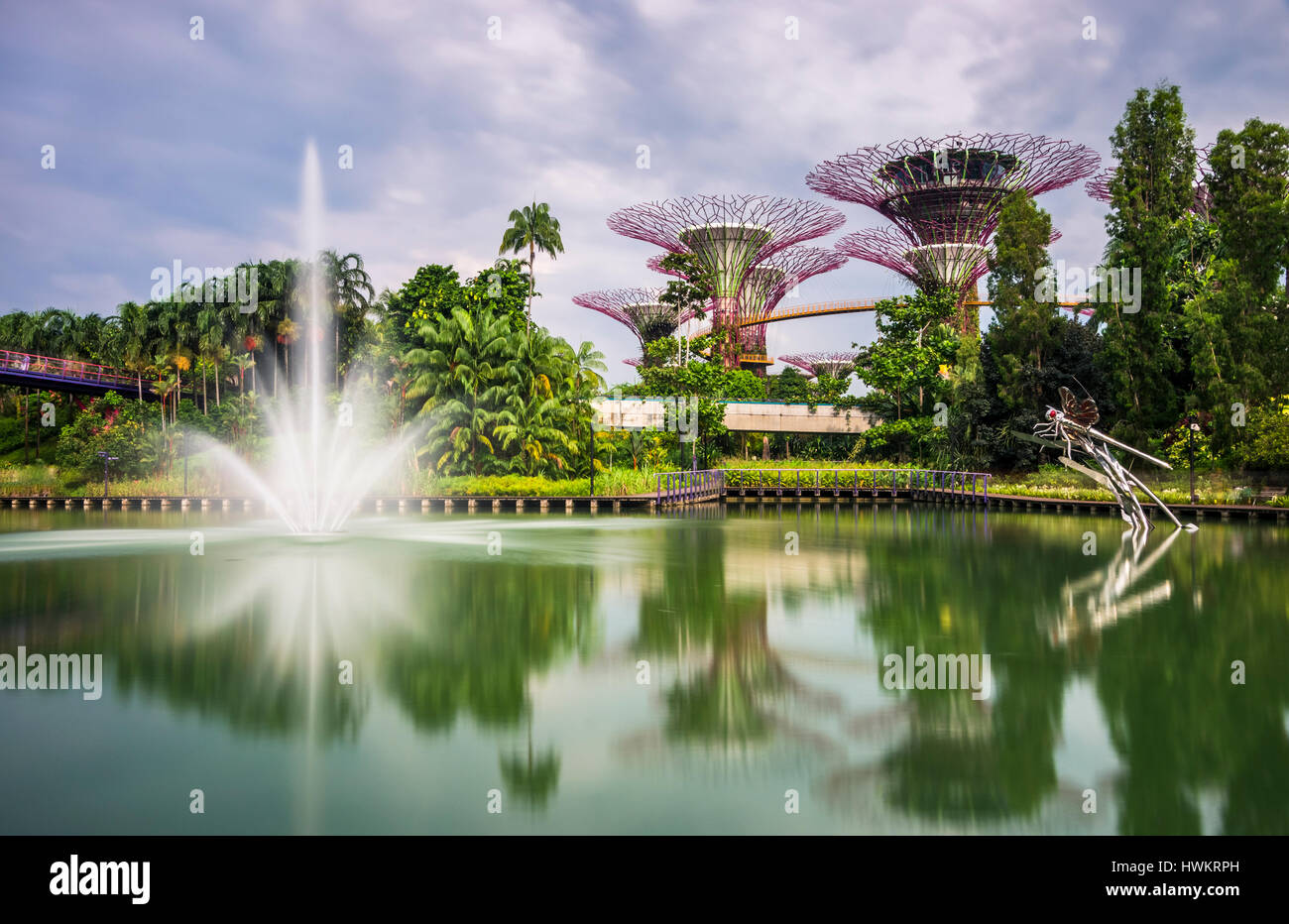 Dragonfly Lake, with Fountain and Supertree Grove in The Gardens by the Bay, Singapore. Stock Photo