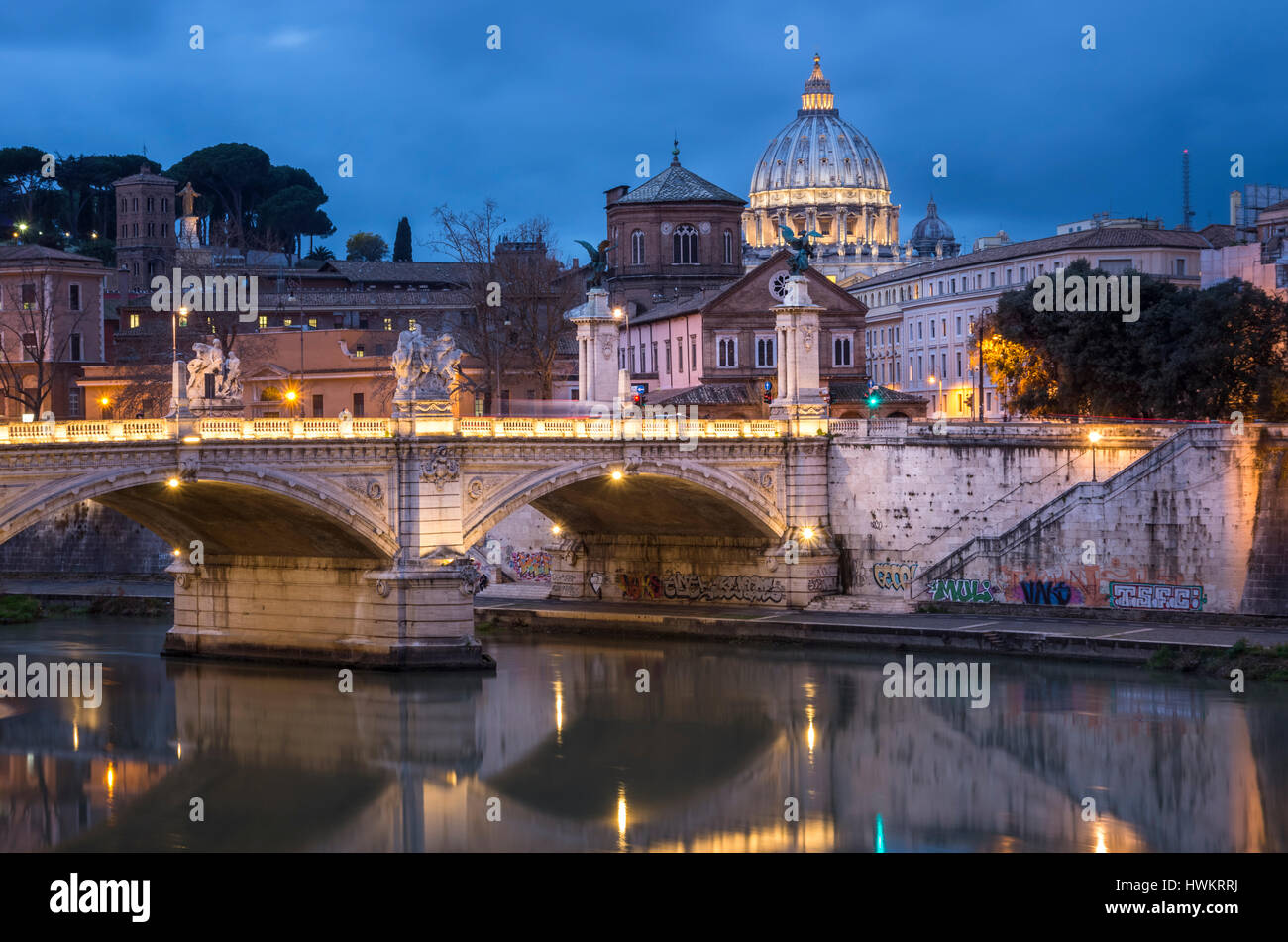 Tiber and St. Peter's Basilica in Rome. - Stock Image