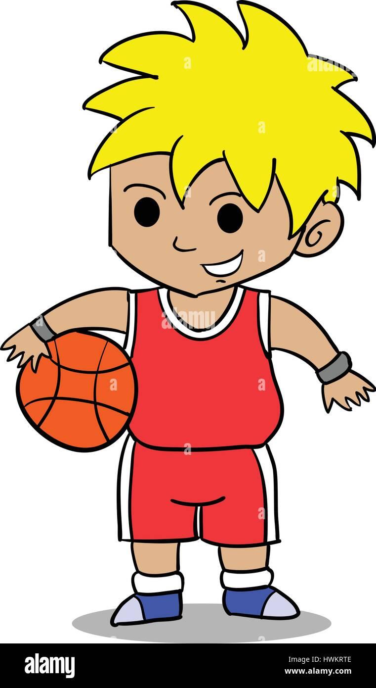 Character of boy playing basketball Stock Vector