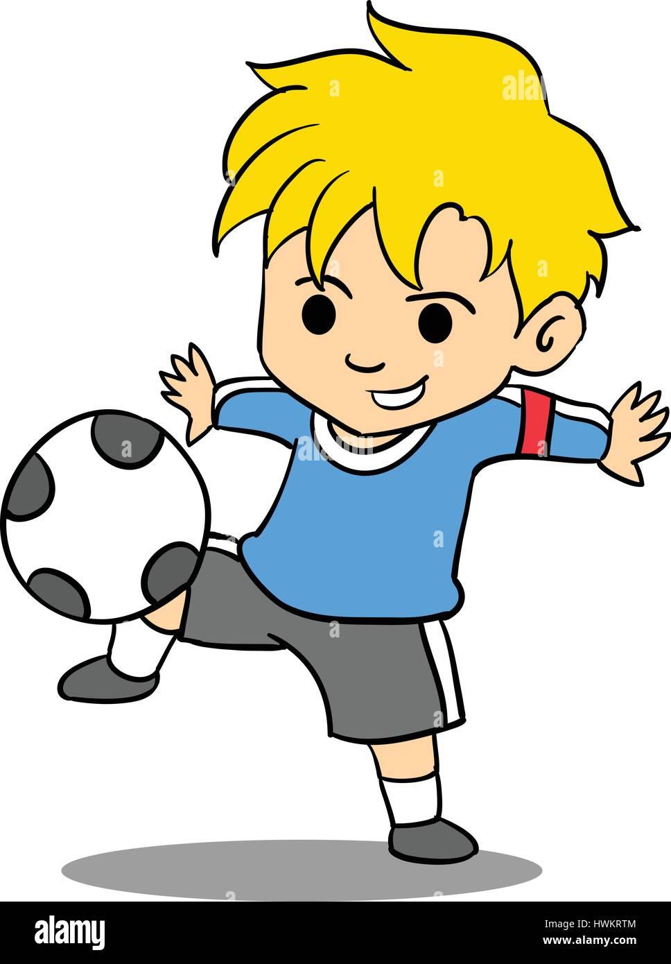 Kid Playing Football Of Character Stock Vector Art