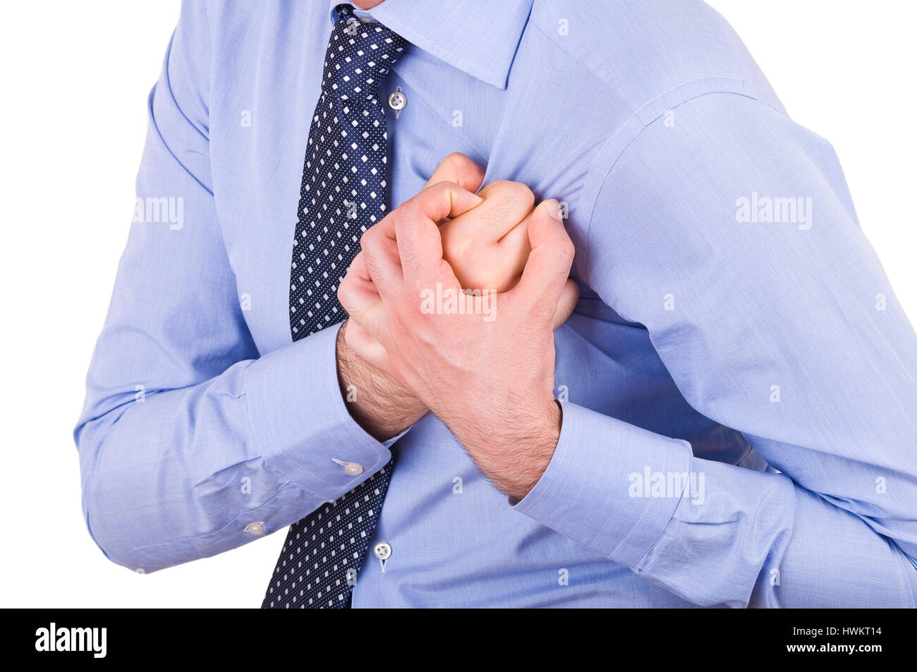 Businessman with heart attack. - Stock Image