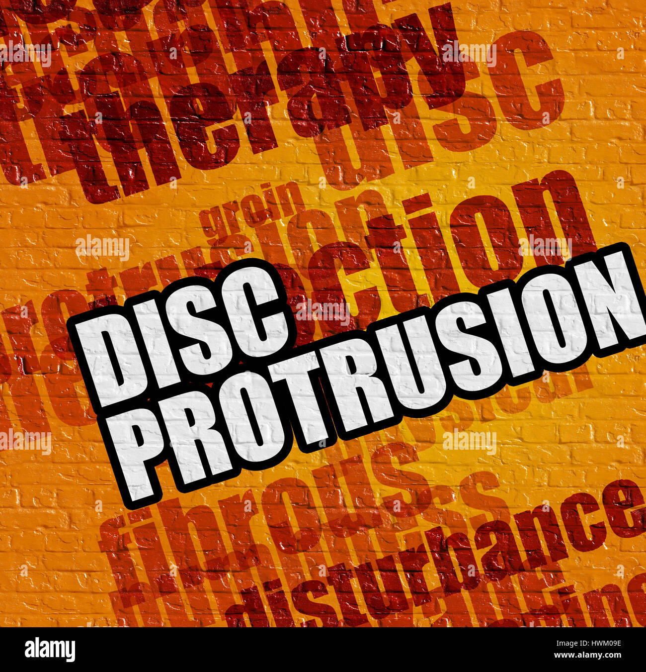 Modern healthcare concept: Disc Protrusion on the Yellow Brickwa - Stock Image