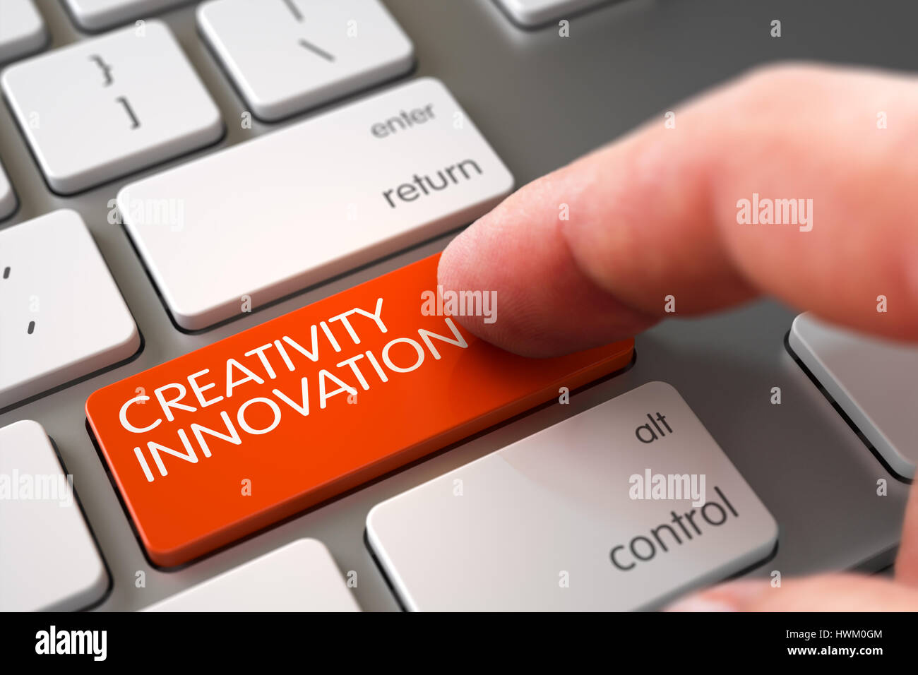 Innovation And Talent Stock Photos Circuit Symbols Celebrities Electronics Components Hand Touching Creativity Button 3d Image