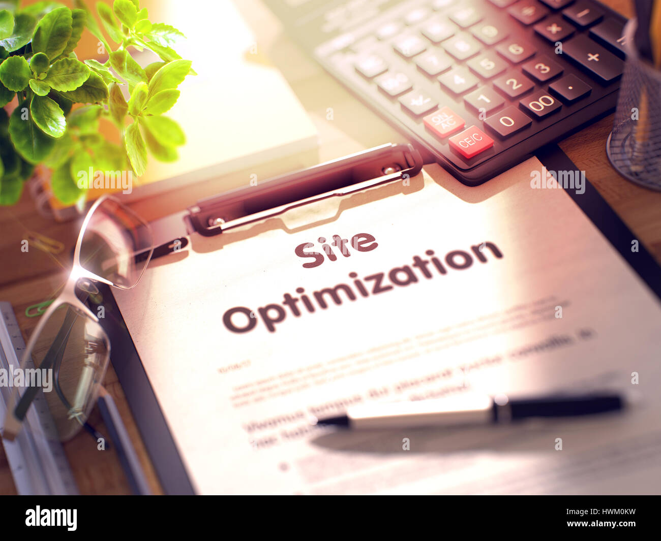 Clipboard with Site Optimization Concept. 3d. - Stock Image