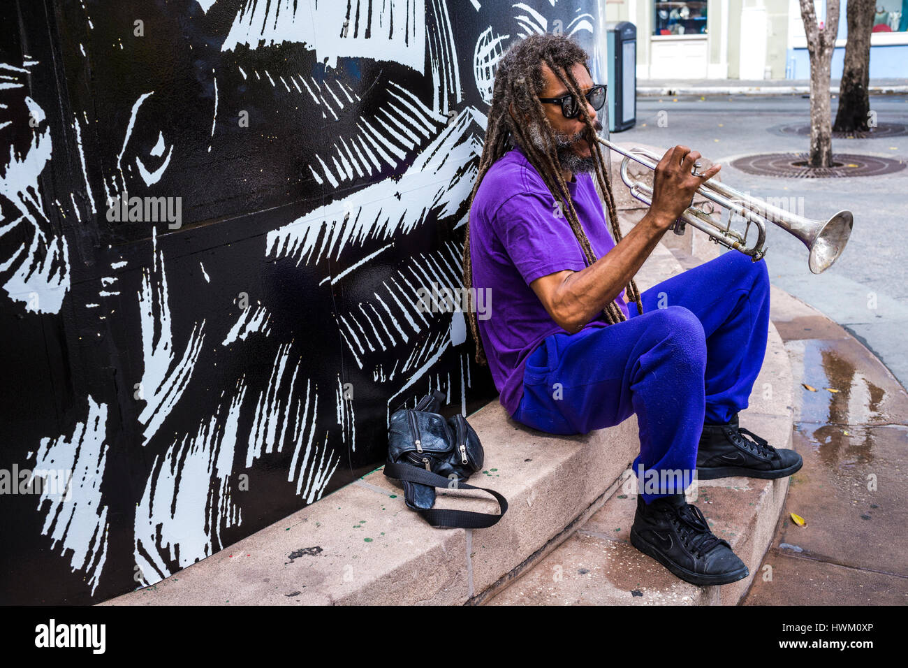 street musician playing in old city of san juan puerto rico Stock Photo