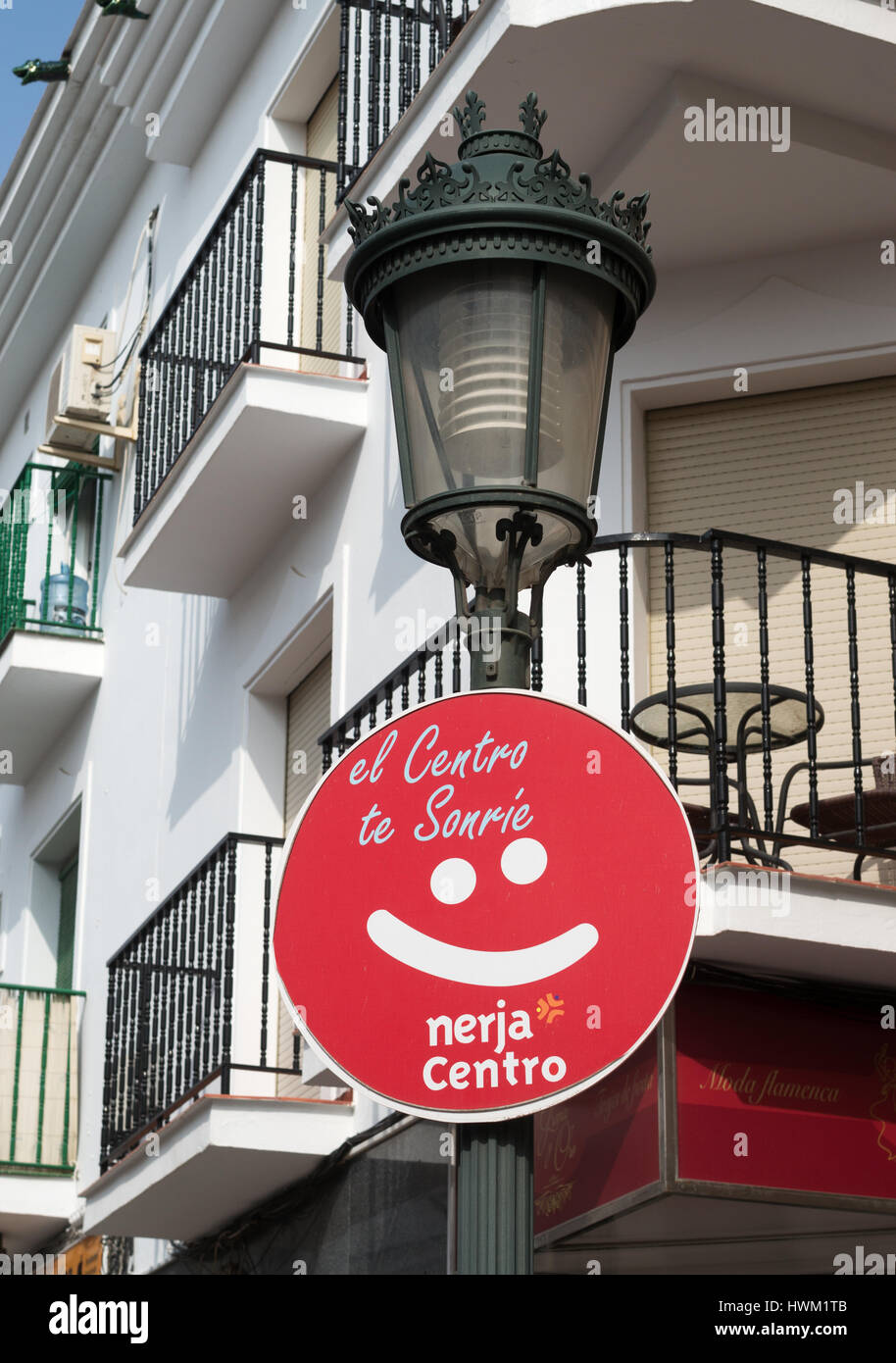 Unusual sign, The center smiles at you, Nerja, Andalusia, Spain Stock Photo