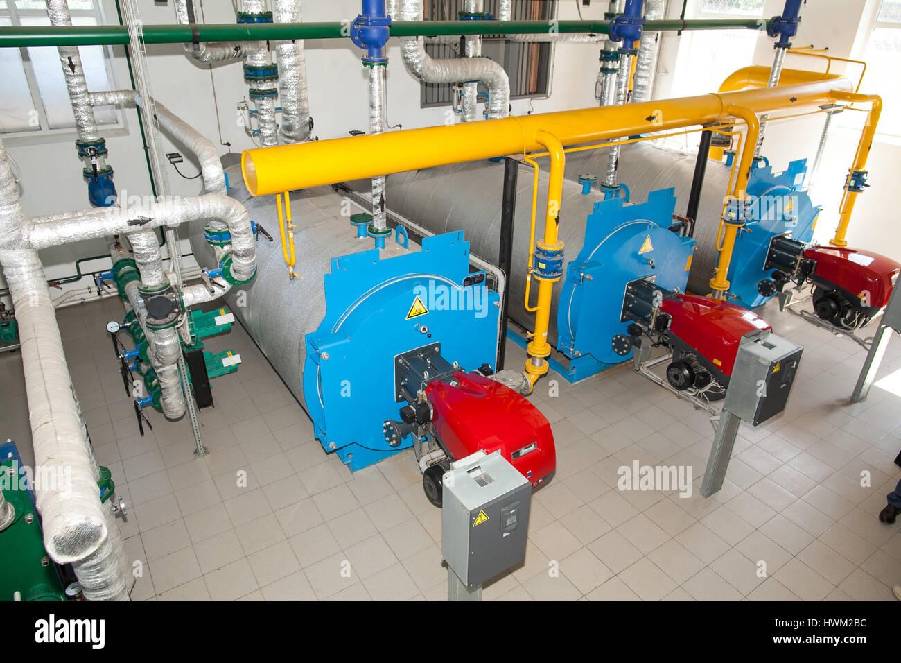 Industrial Gas Boiler Pipe Work Stock Photos & Industrial Gas Boiler ...