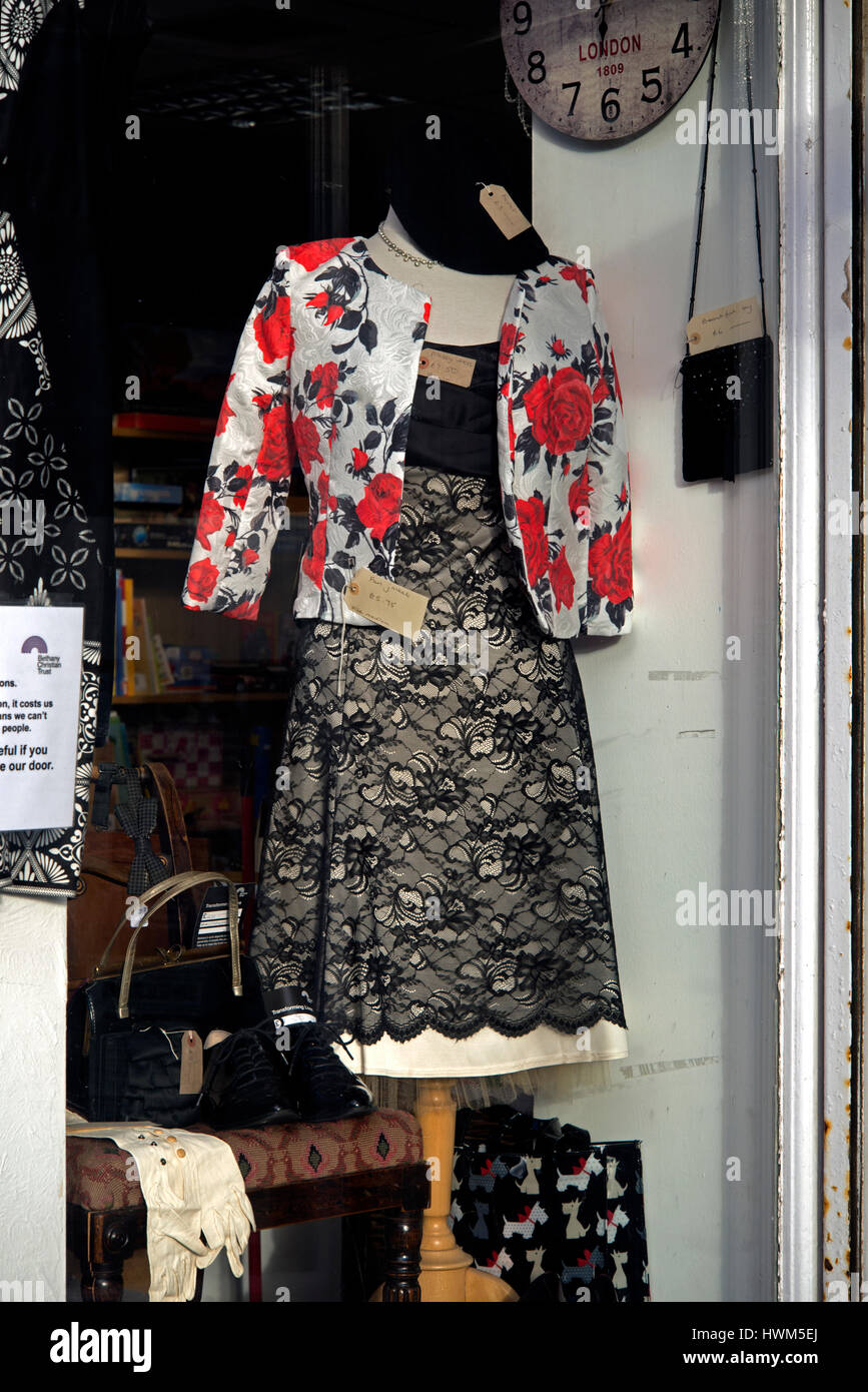 27ded7bae4459 Secondhand clothes for sale in an Edinburgh Charity Shop window ...