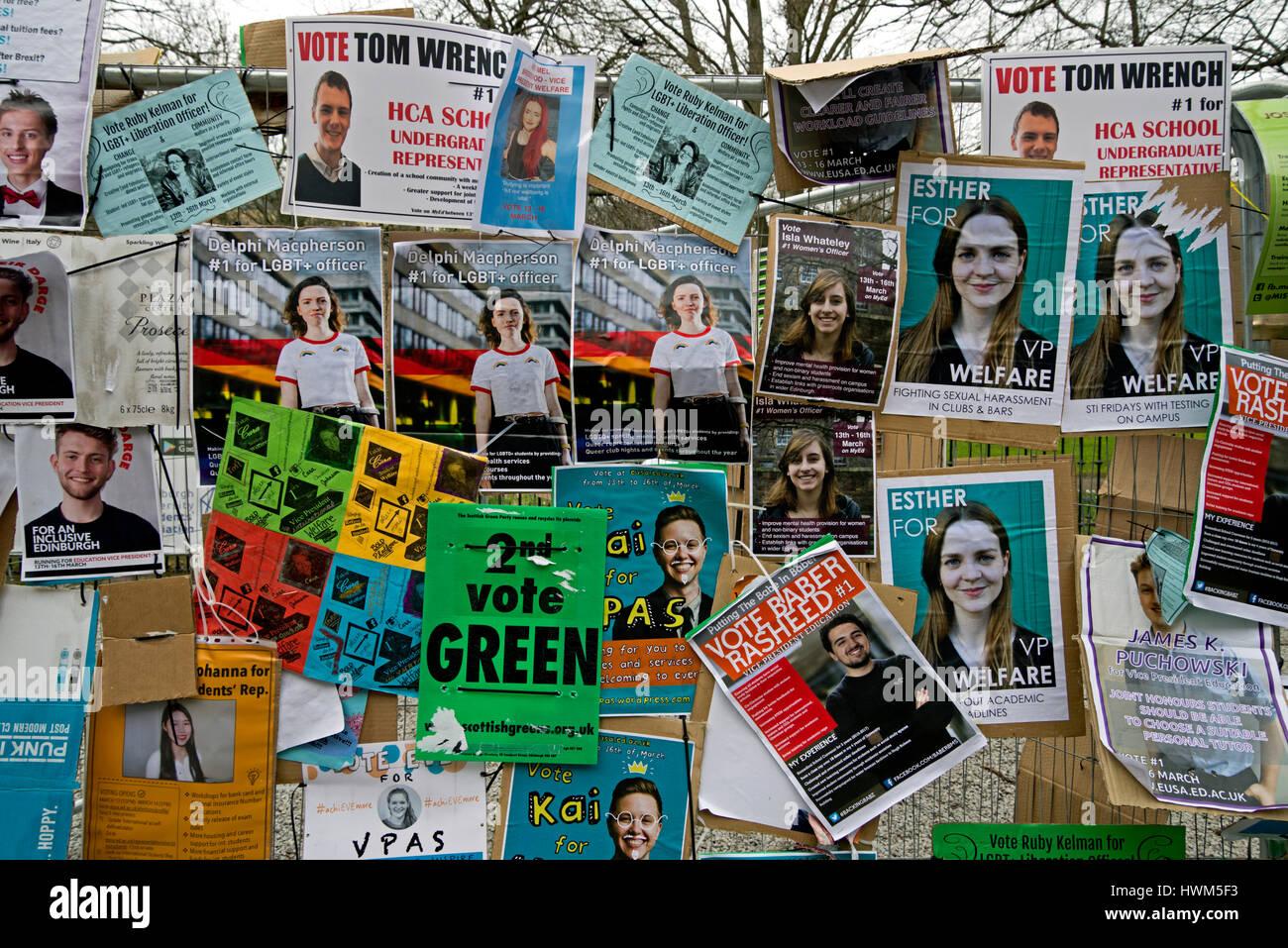 University of Edinburgh student election posters. - Stock Image