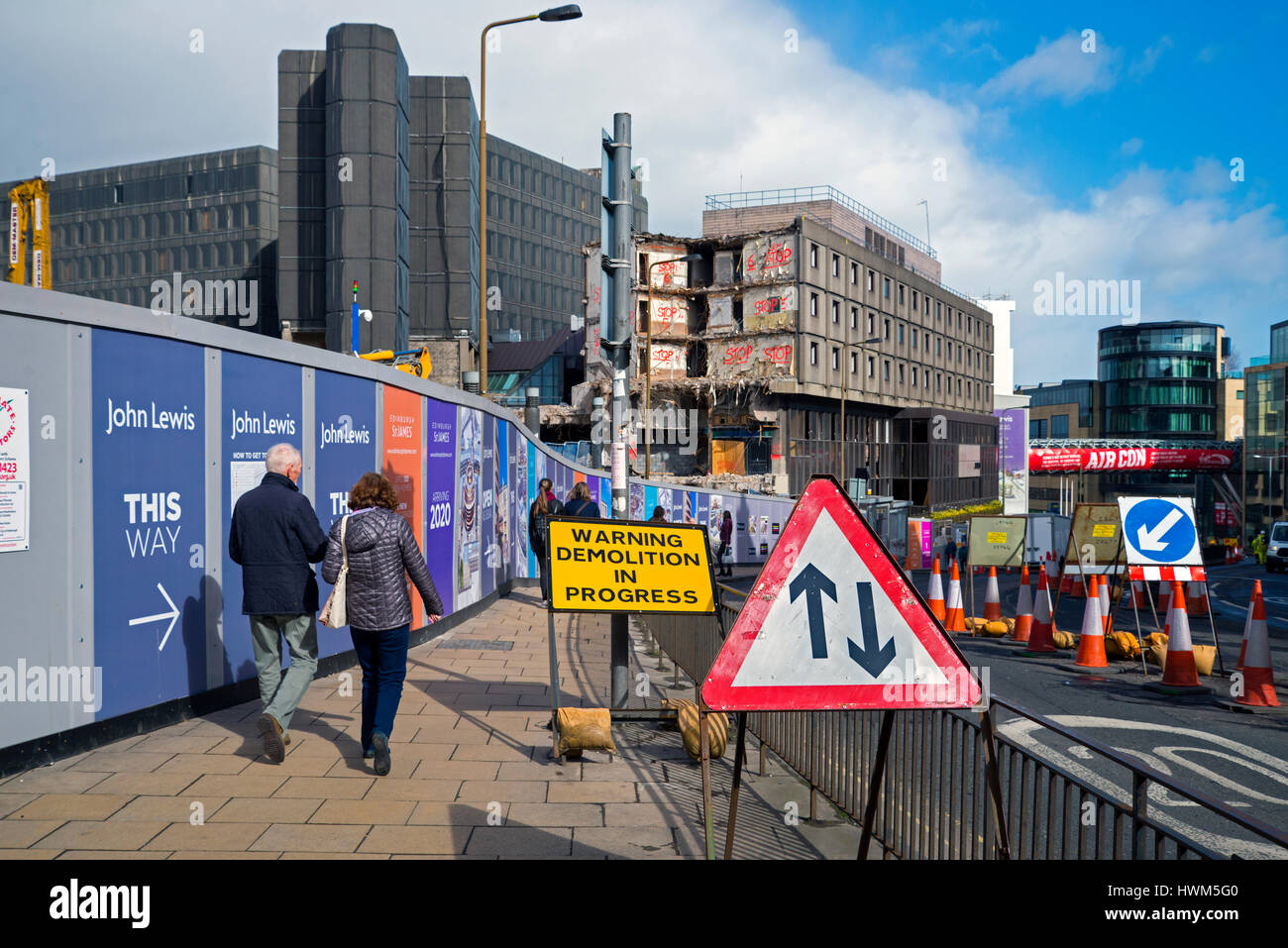 Demolition of the St James Centre in Edinburgh, built in the 1970's the site is being cleared to make way for - Stock Image