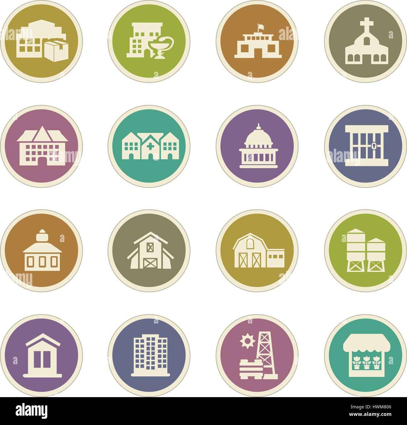 Infrastucture of the city icon set for web sites and user interface Stock Vector