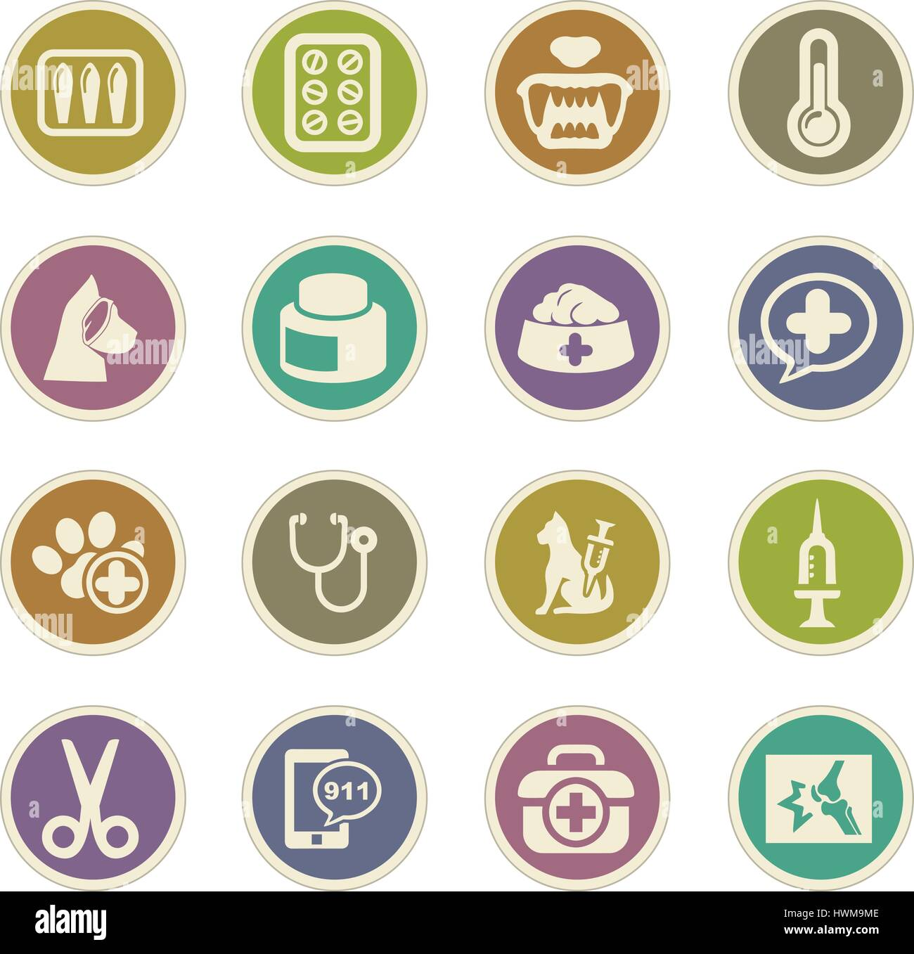 Veterinary clinic icon set for web sites and user interface - Stock Vector