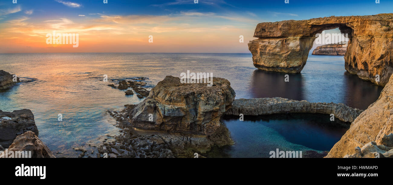 Gozo, Malta - Panoramic view of the beautiful Azure Window, a natural arch and famous landmark on the island of Stock Photo