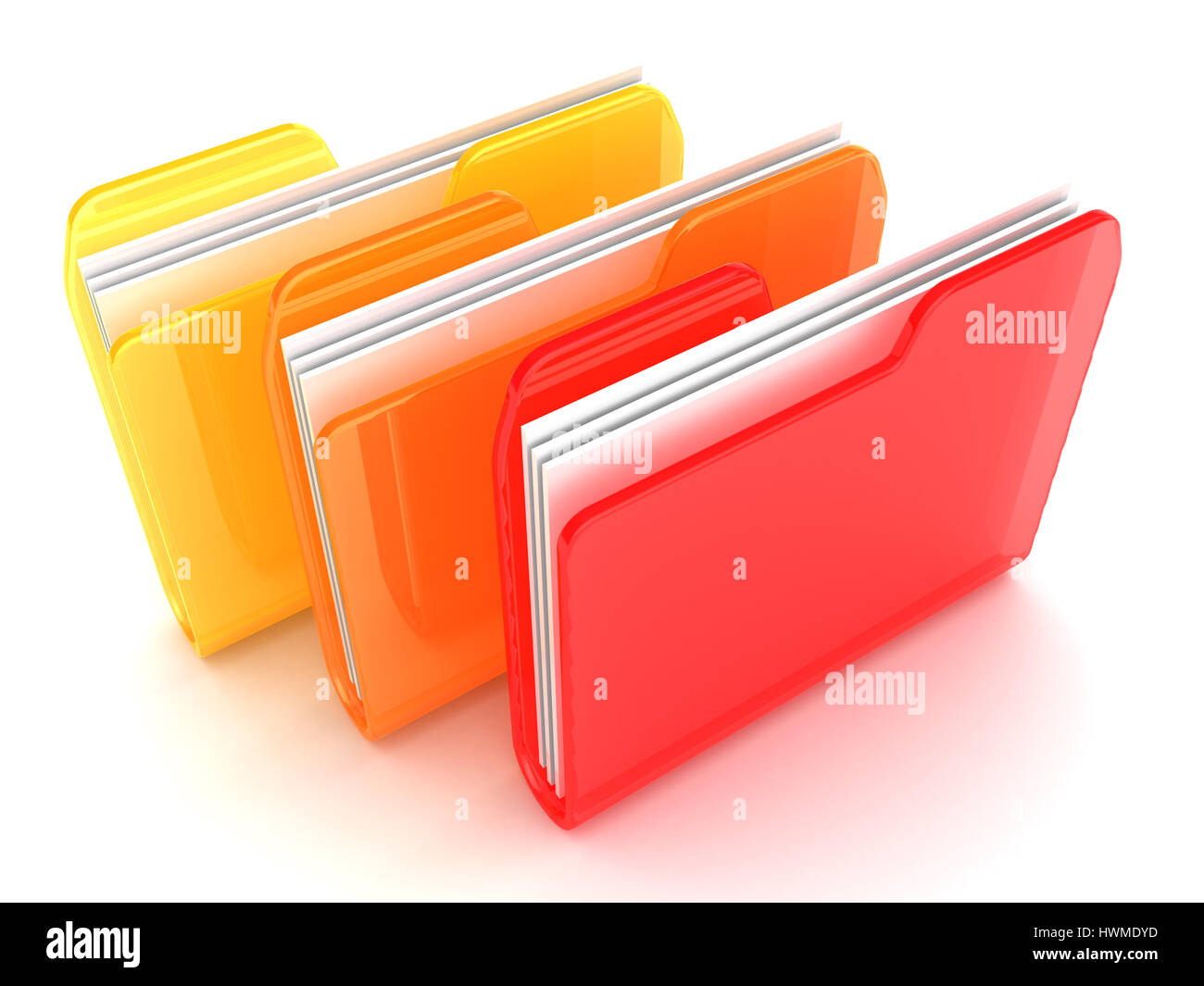 3d illustration of three folders ornage and red colors - Stock Image