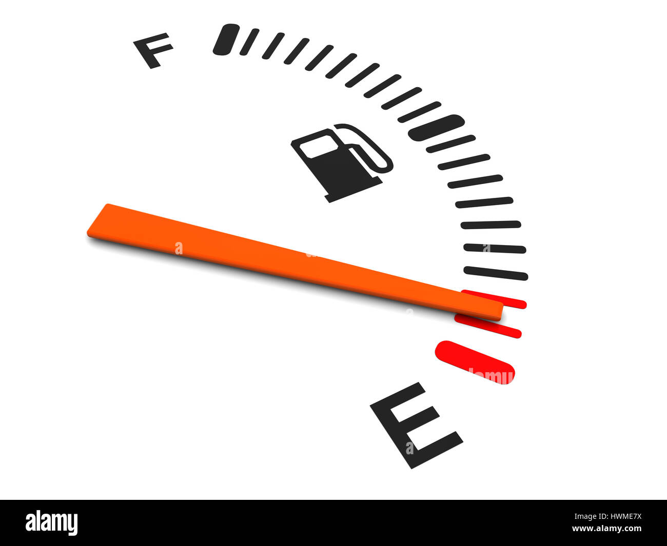 3d illustration of generic fuel meter over white background - Stock Image