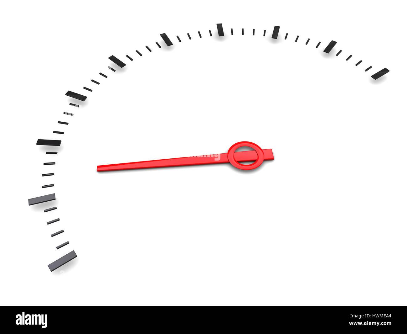 3d illustration of simple meter gauge over white background - Stock Image