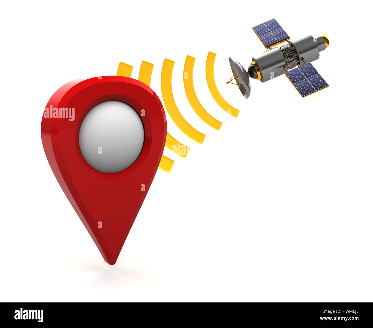 3d illustration of sattelite navigation concept, over white background - Stock Image