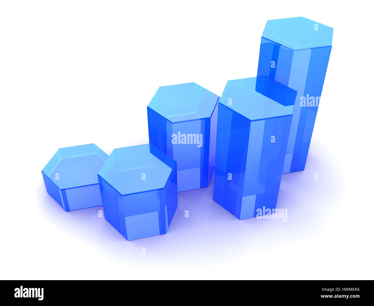 3d illustration of rising charts blue glass - Stock Image