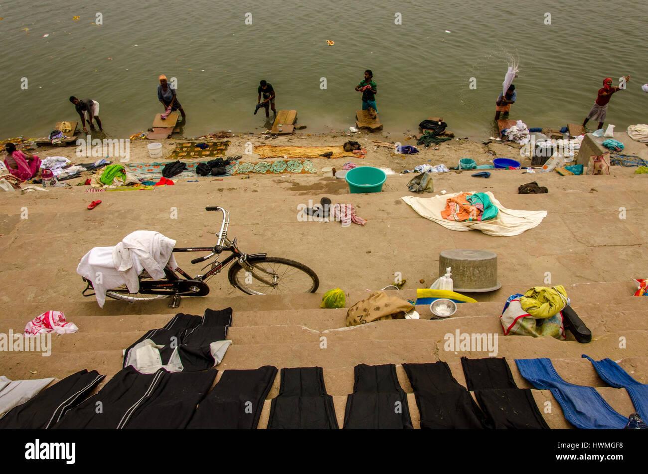 Laundry In Varanasi, Varanasi, India - Stock Image
