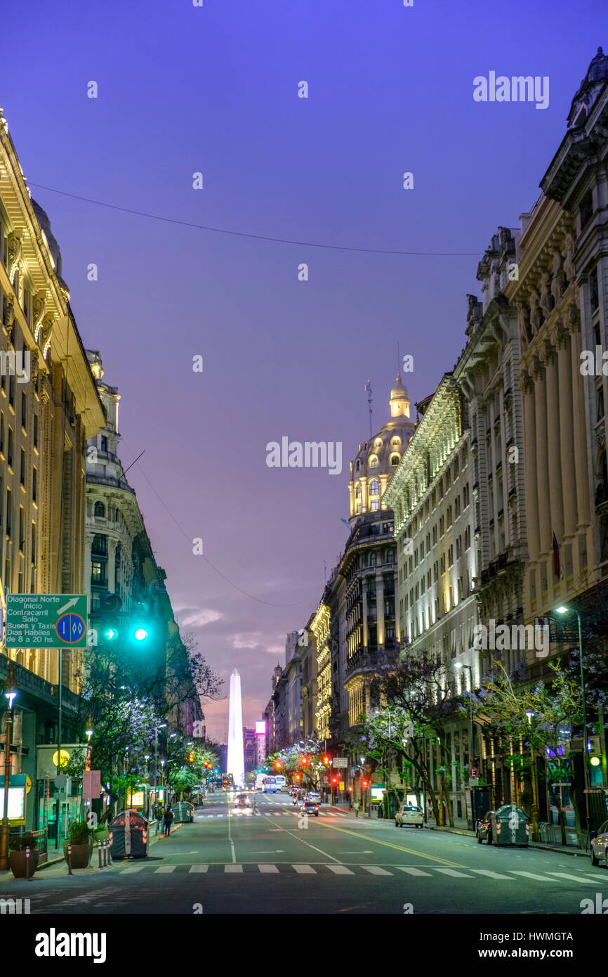 Roque Saenz Pena Avenue - running off the Plaza de Mayo in Buenos Aires - Stock Image
