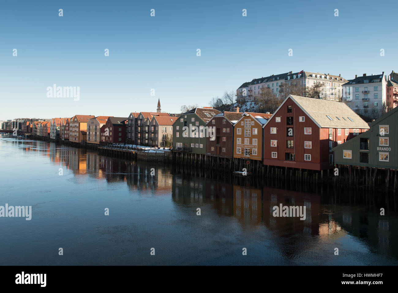 The wharves of Trondheim - Stock Image