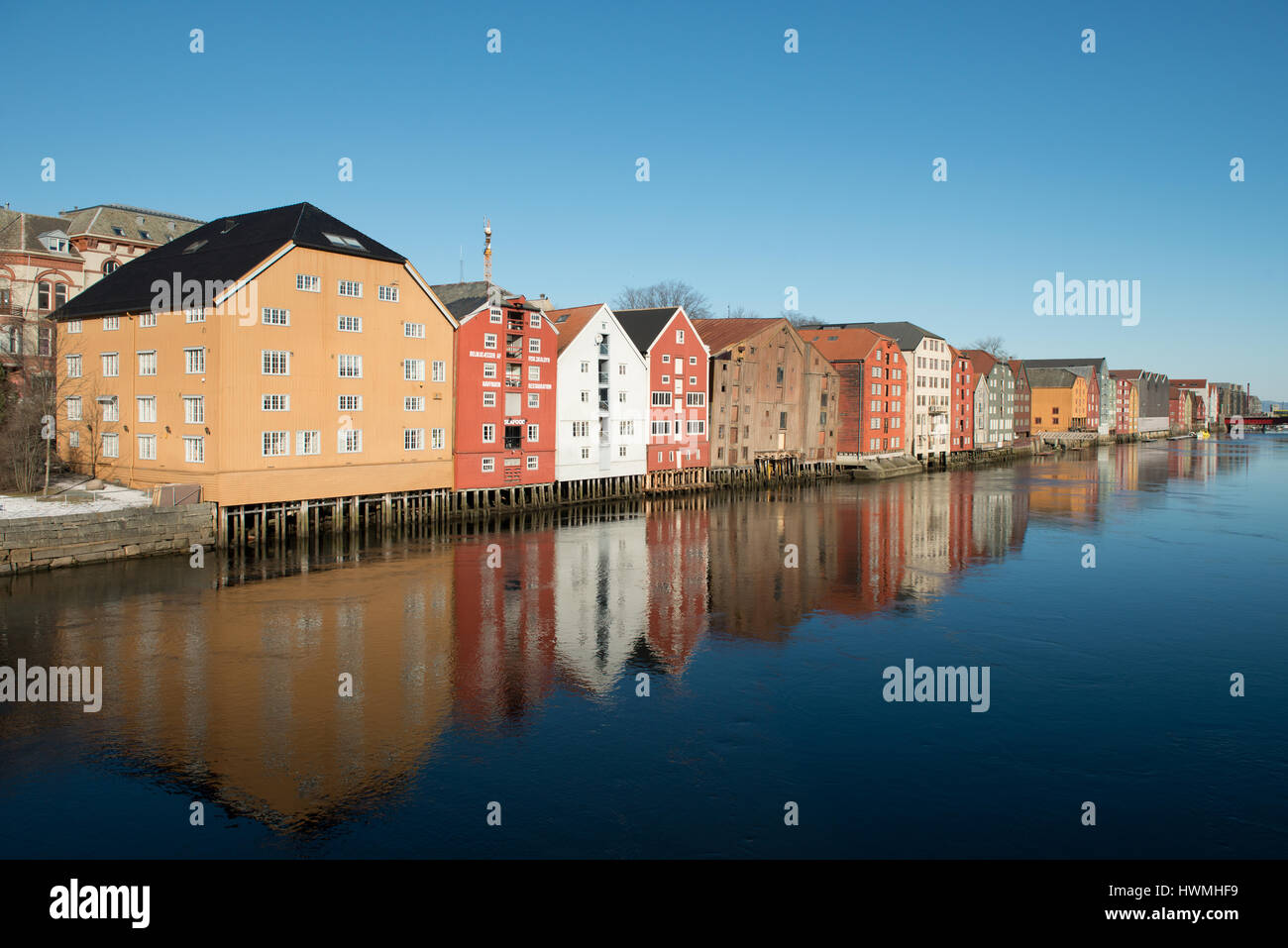 The Wharves of Trondheim, Norway - Stock Image