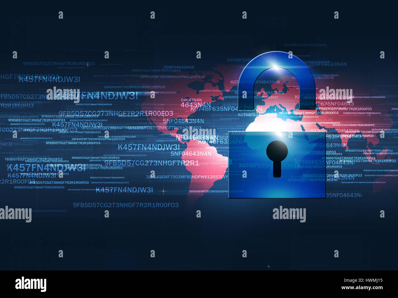 digital coding lcok concept internet security blue background - Stock Image