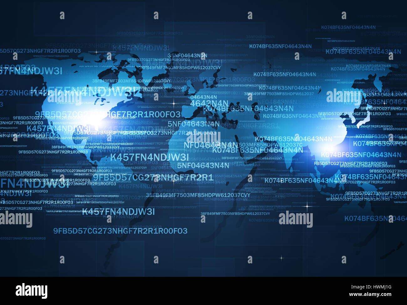 digital coding concept technology internet security blue background - Stock Image