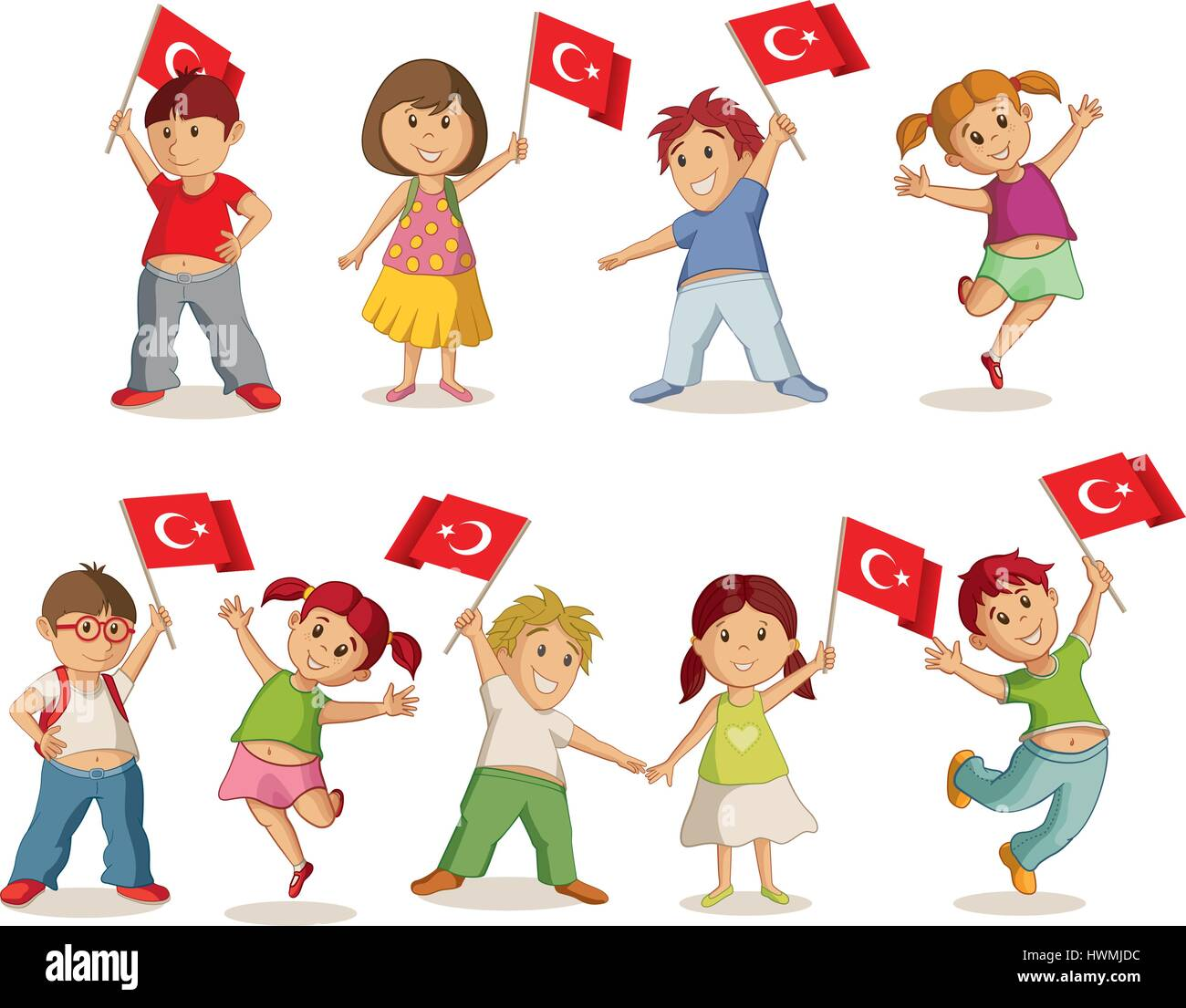 Vector illustration of children with Turkish flag. 23 Nisan Çocuk Bayrami, April 23 Turkish National Sovereignty - Stock Vector