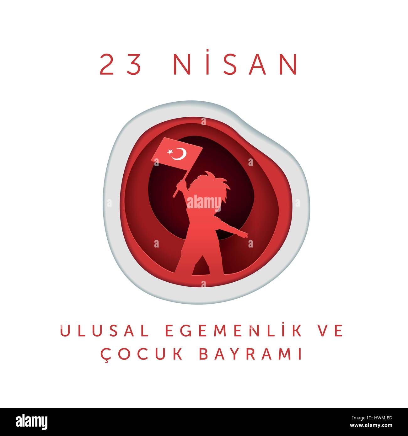 Vector illustration of the 23 Nisan Çocuk Bayrami, April 23 Turkish National Sovereignty and Children's - Stock Vector