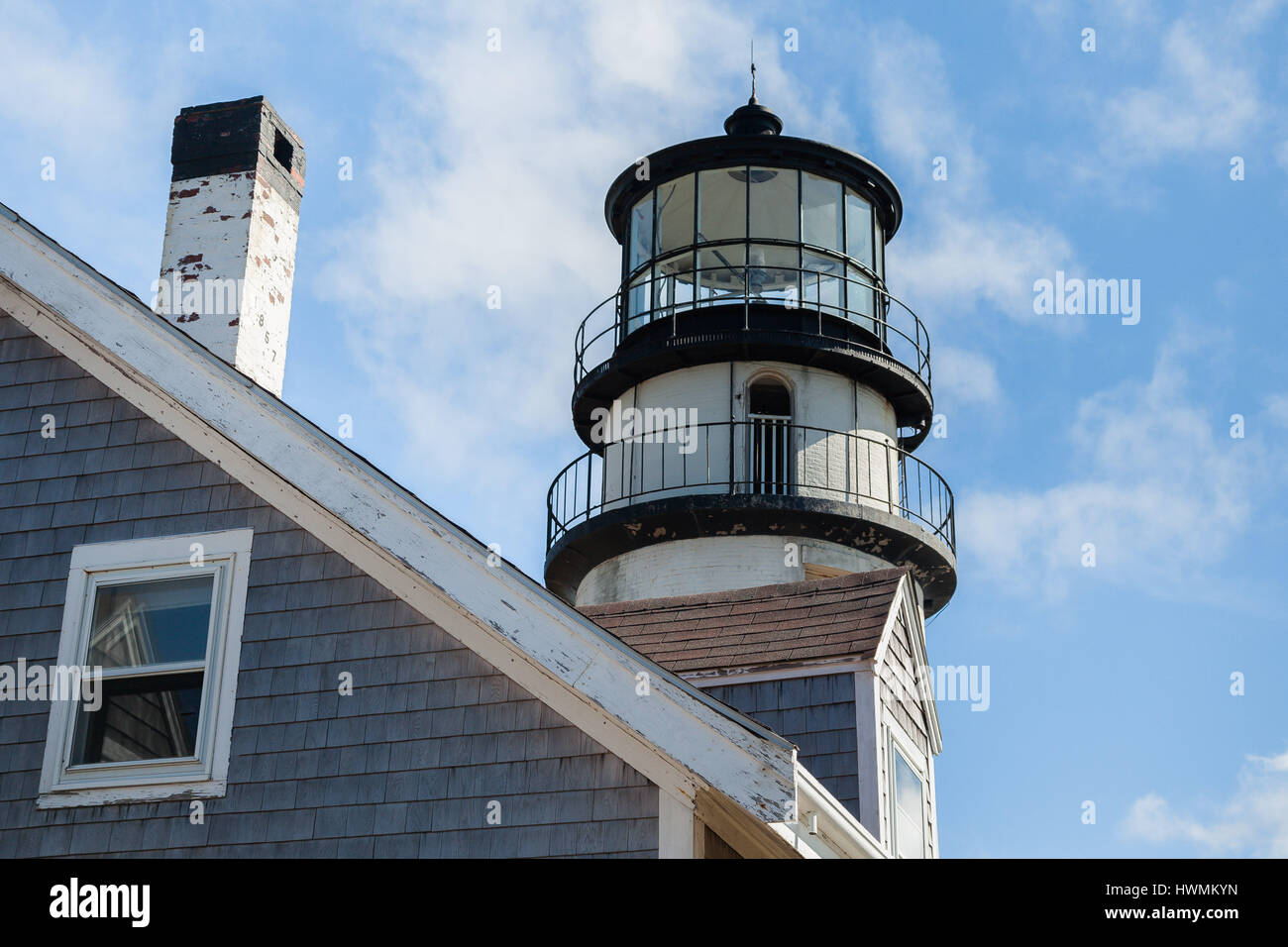 TRURO-SEPTEMBER 14: Truro lighthouse architecture with blue sky and clouds in Truro,  Cape Cod , Massachusetts, - Stock Image