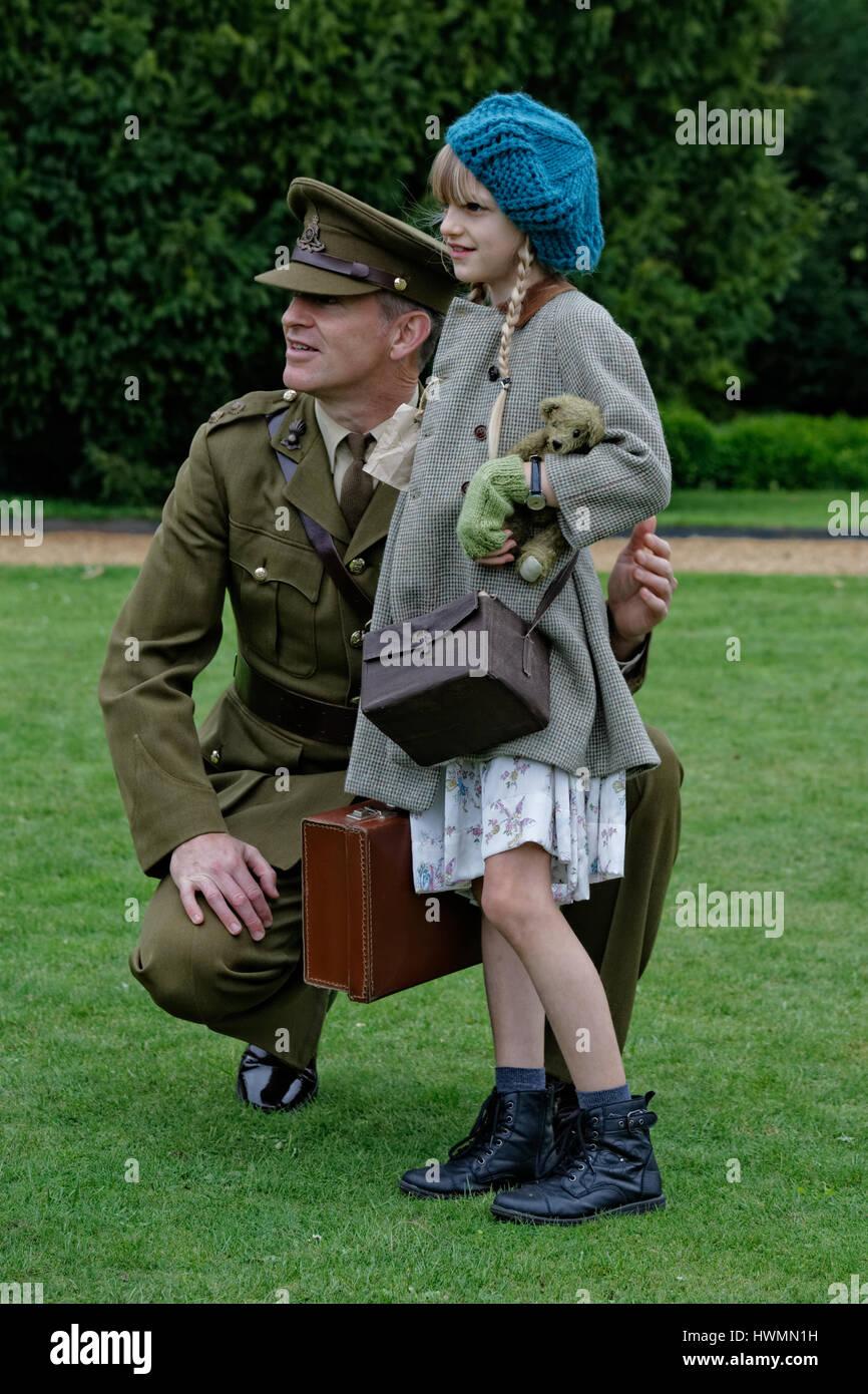 British wartime child evacuee & British Army Officer - Stock Image