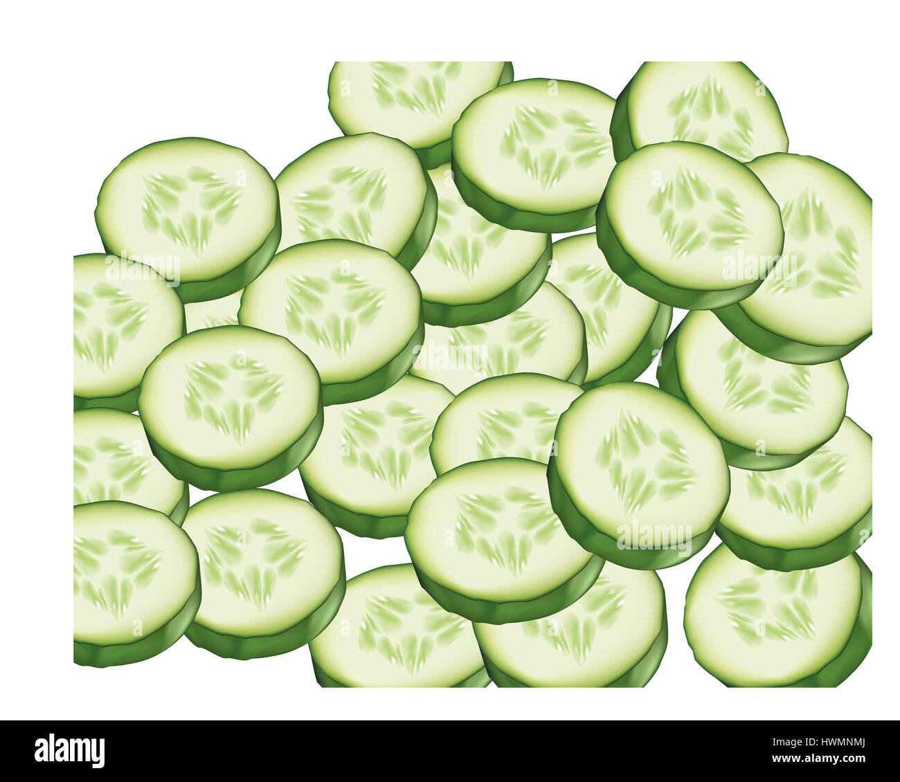 Slices of cucumbers on white background - Stock Image