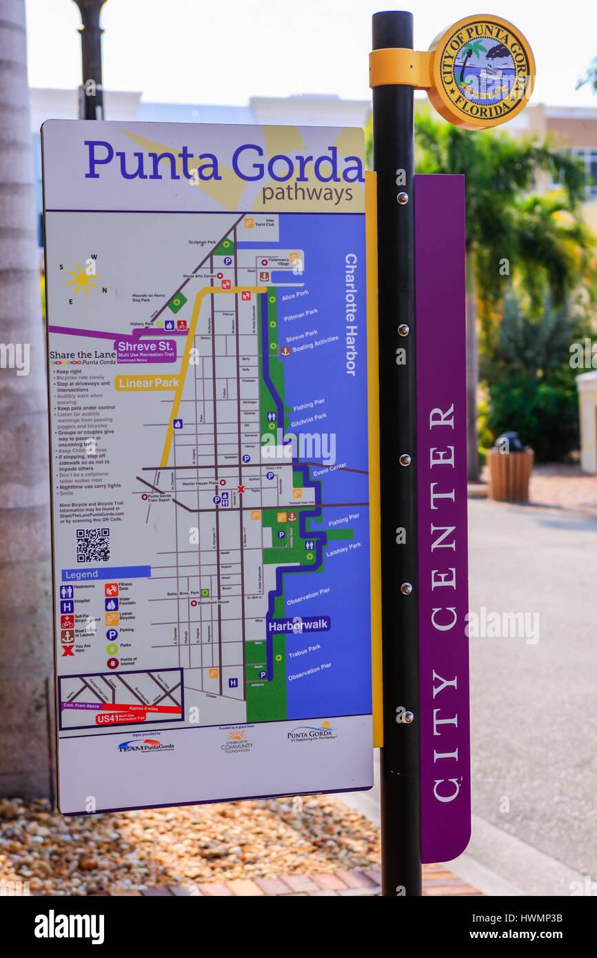 Map Of Punta Gorda Florida.City Street Map Sign In Downtown Punta Gorda In Florida Stock Photo