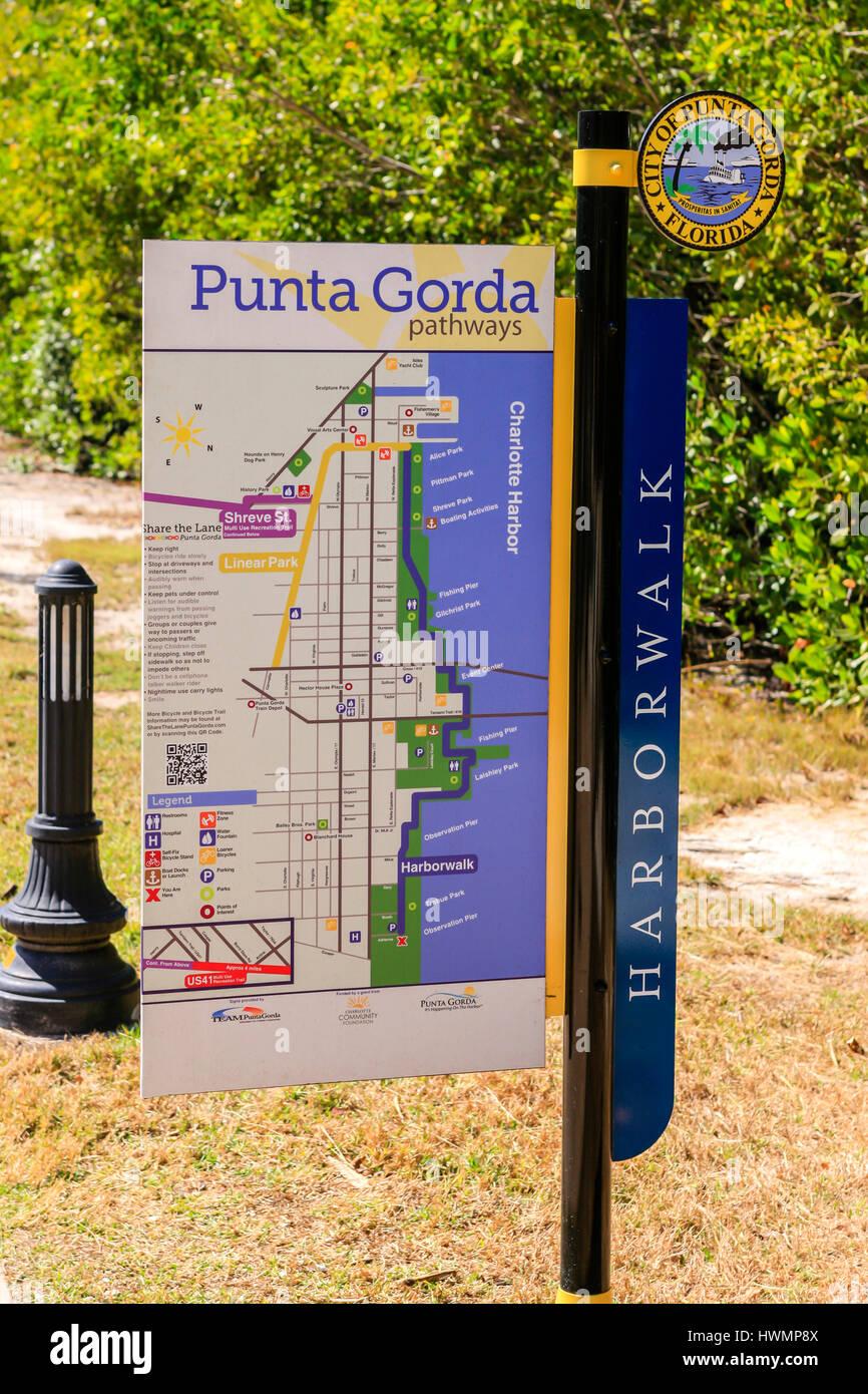 Map Of Punta Gorda Florida.Harbor Walk Pathway Map Sign In Downtown Punta Gorda Fl Stock Photo