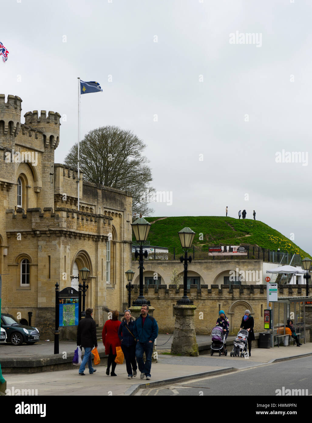 View of the Oxford Castle Mound from the road side. - Stock Image