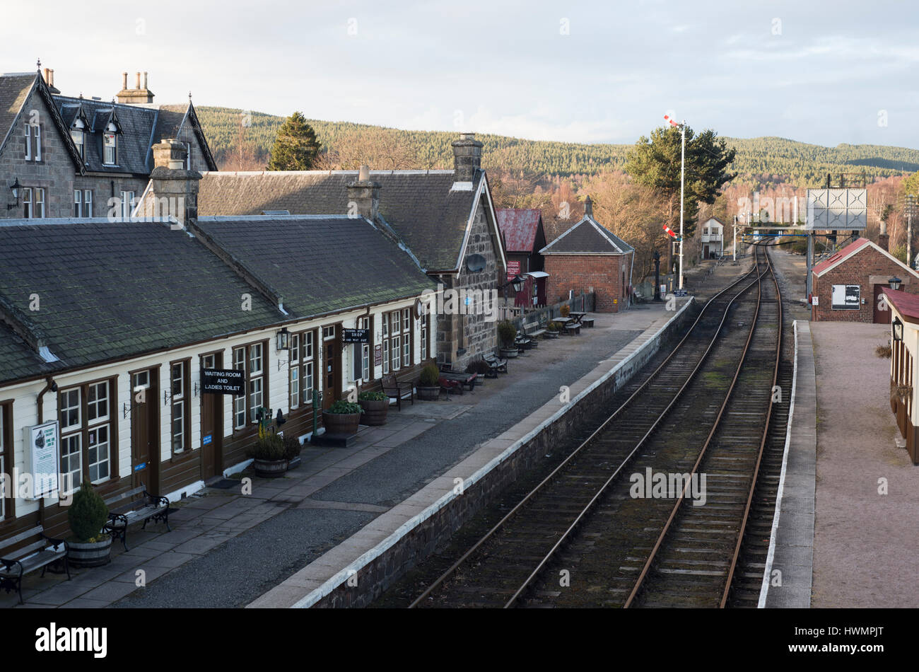 Boat of Garten Train Station - Stock Image