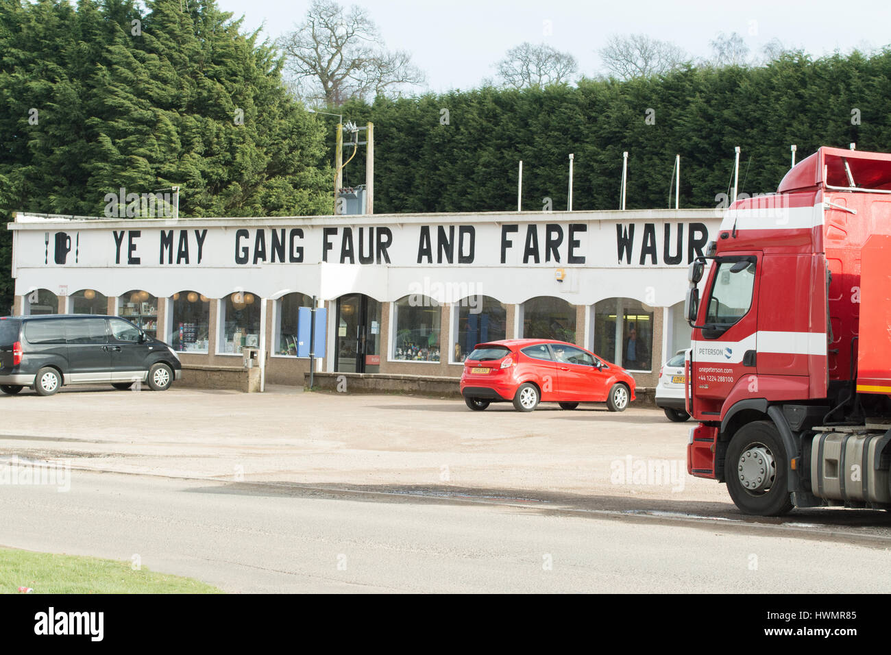 Stracathro Service Station, A90, Brechin, Scotland, UK - Ye may gang faur an fare waur - you may go further and - Stock Image