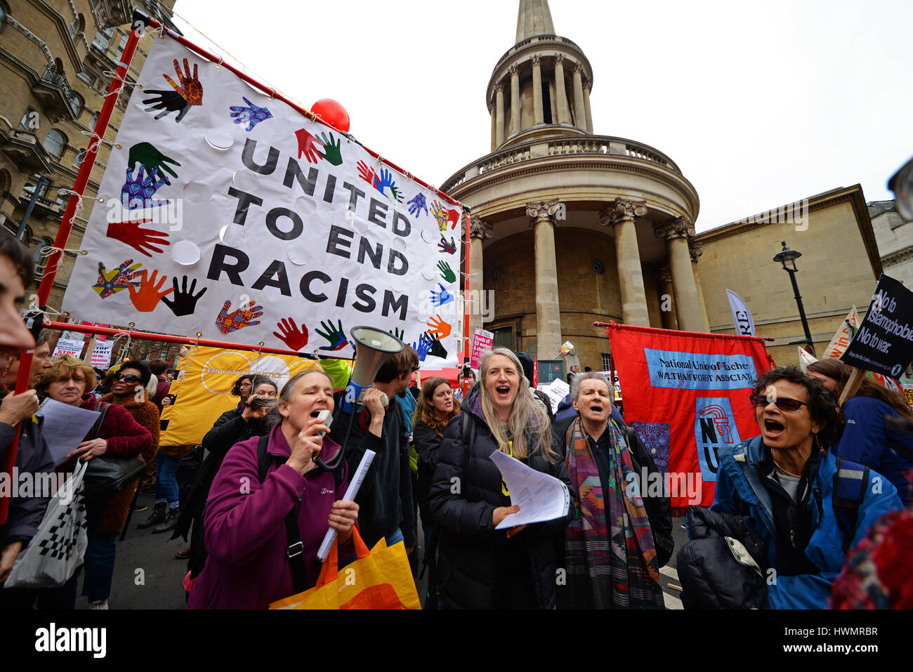 A demonstration took place in London on United Nations Anti Racism Day starting at Portland Place - Stock Image