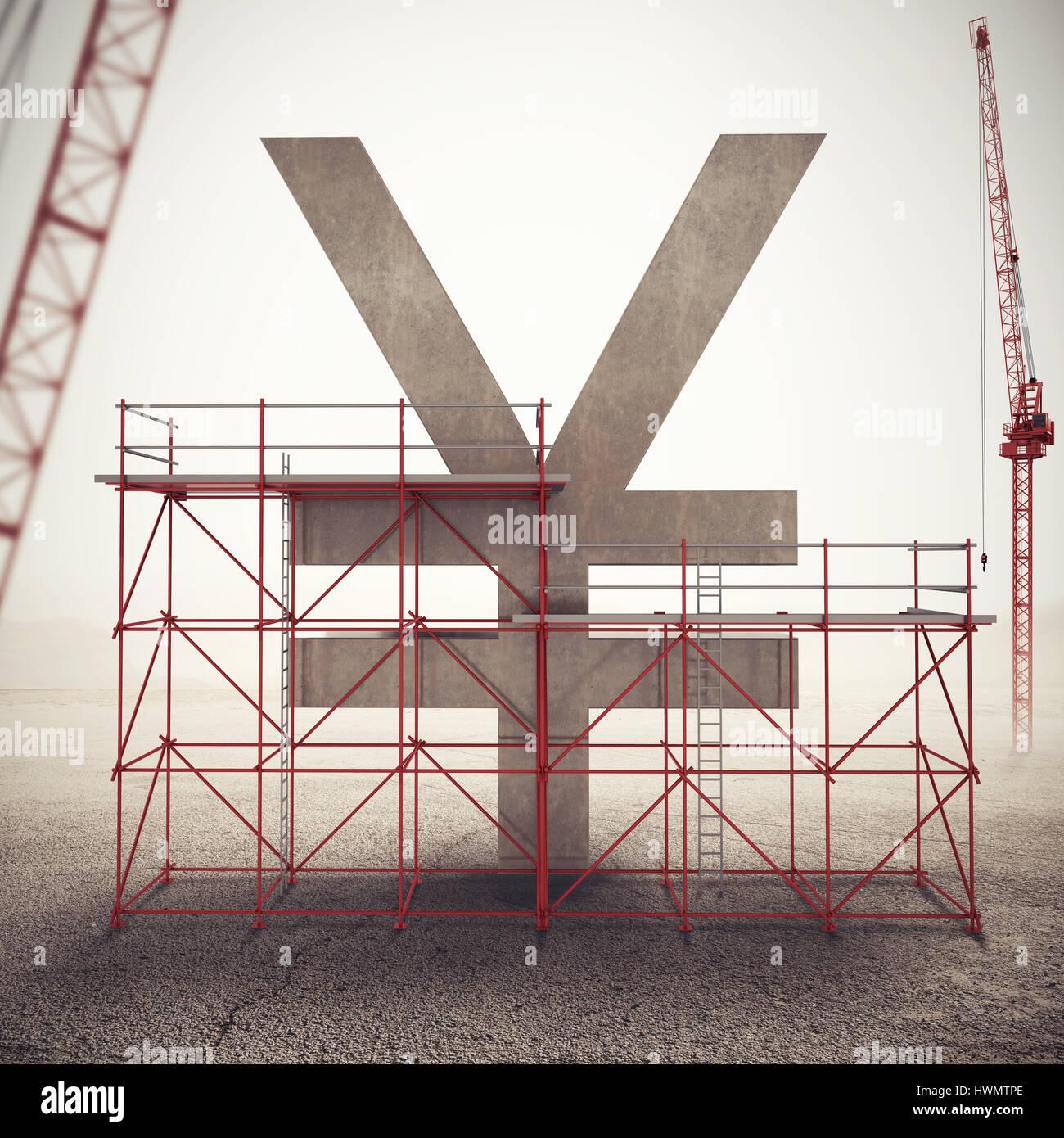 Strengthen yen economy . 3D Rendering - Stock Image